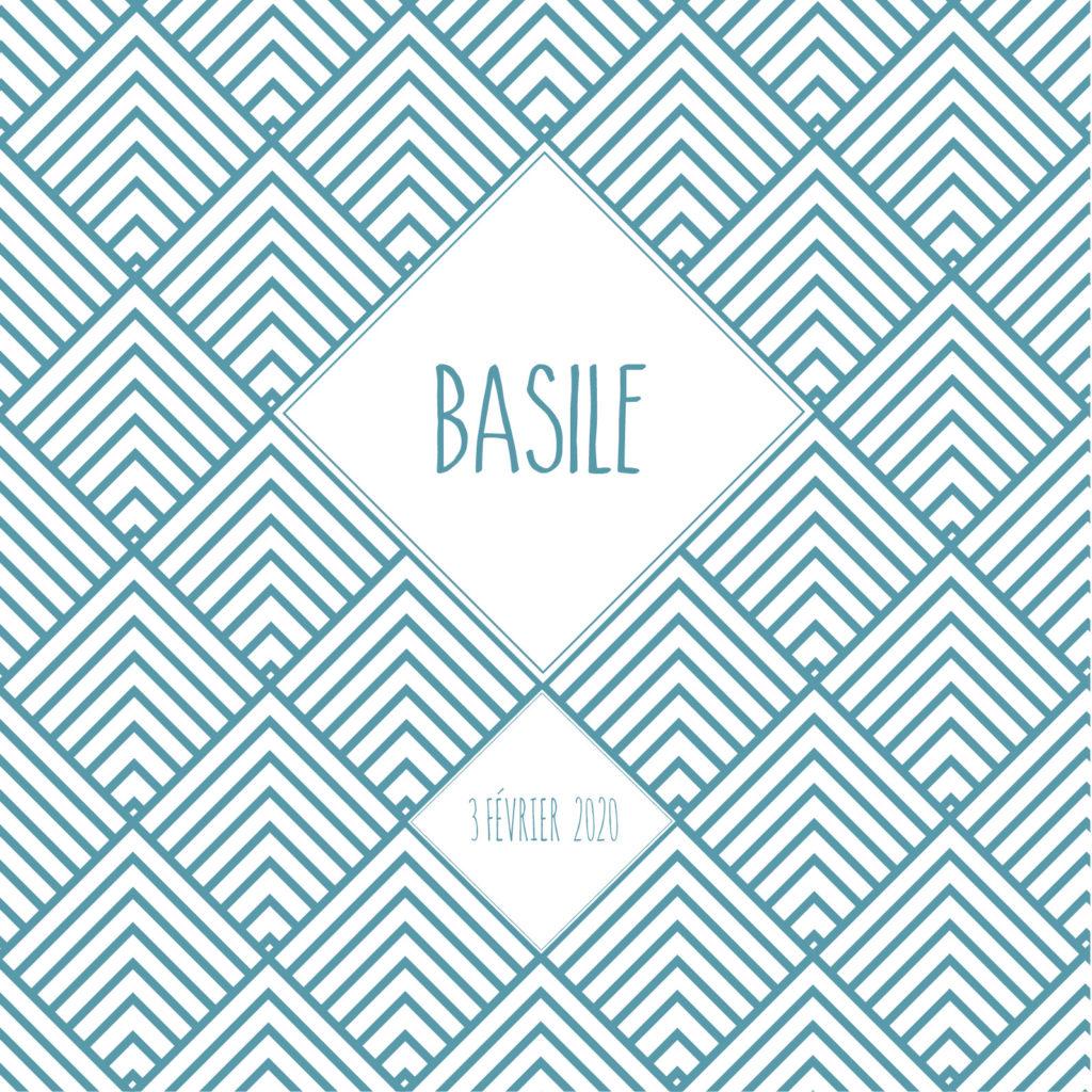 Faire-part de naissance - Modèle losange bleu - recto