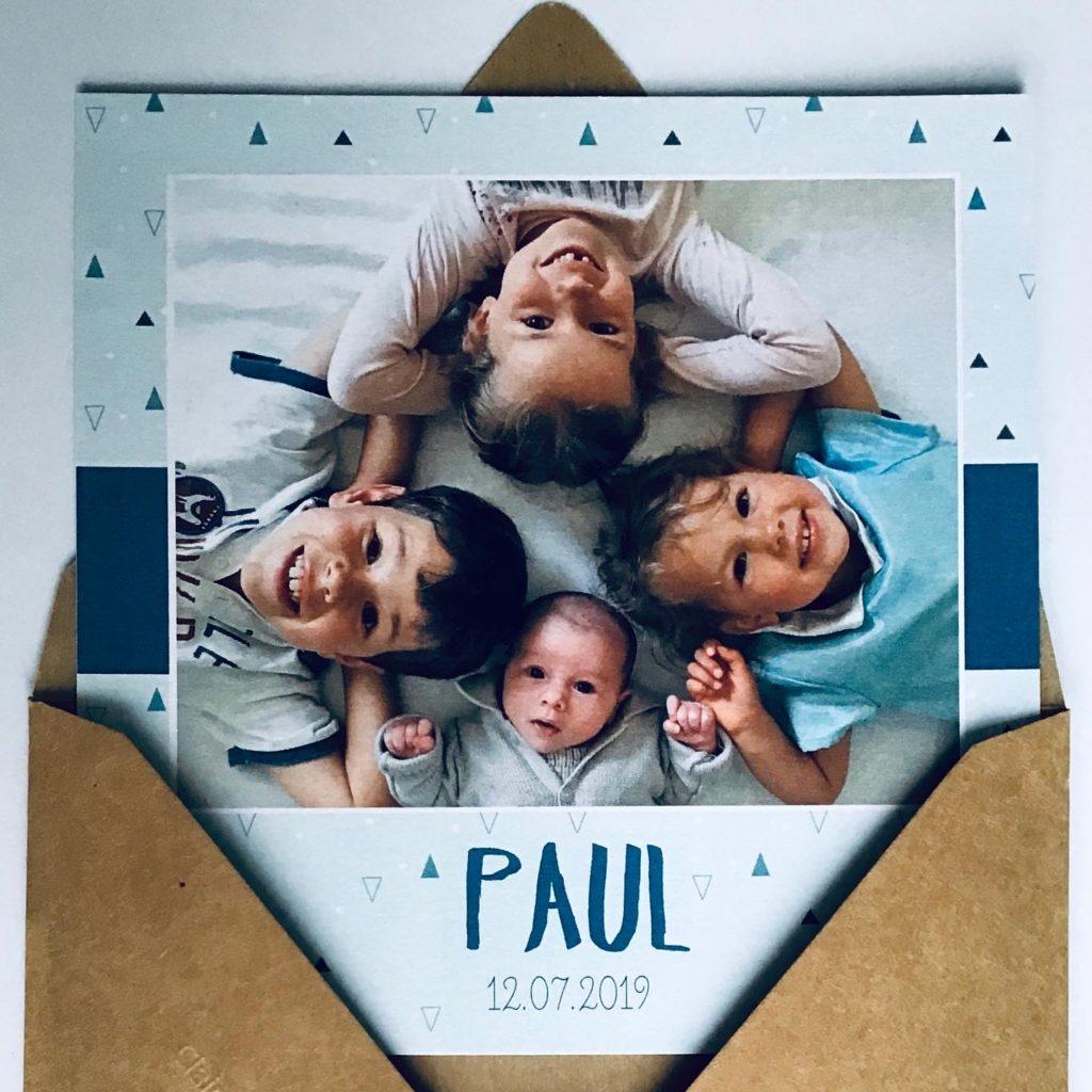 Photo - Faire-part de naissance - Modèle triangle bleu - recto