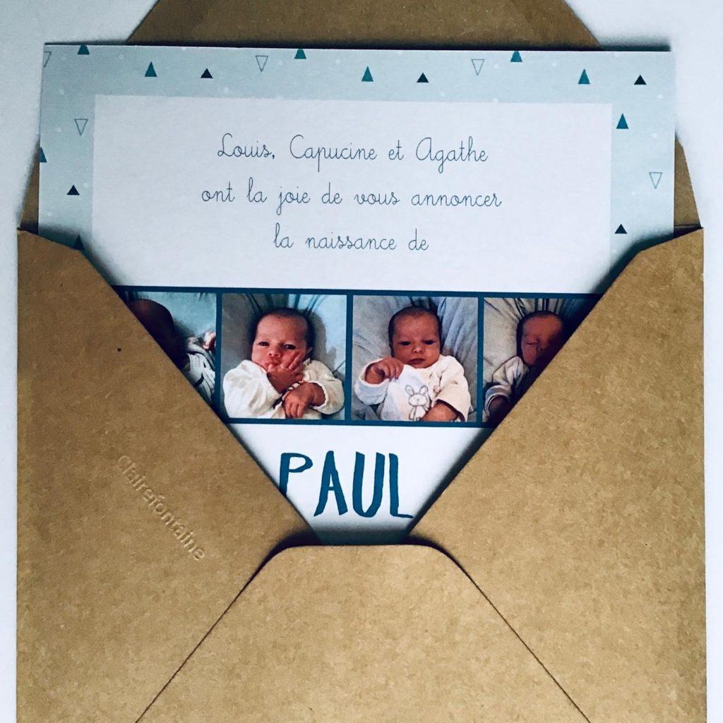 Photo - Faire-part de naissance - Modèle triangle bleu - verso