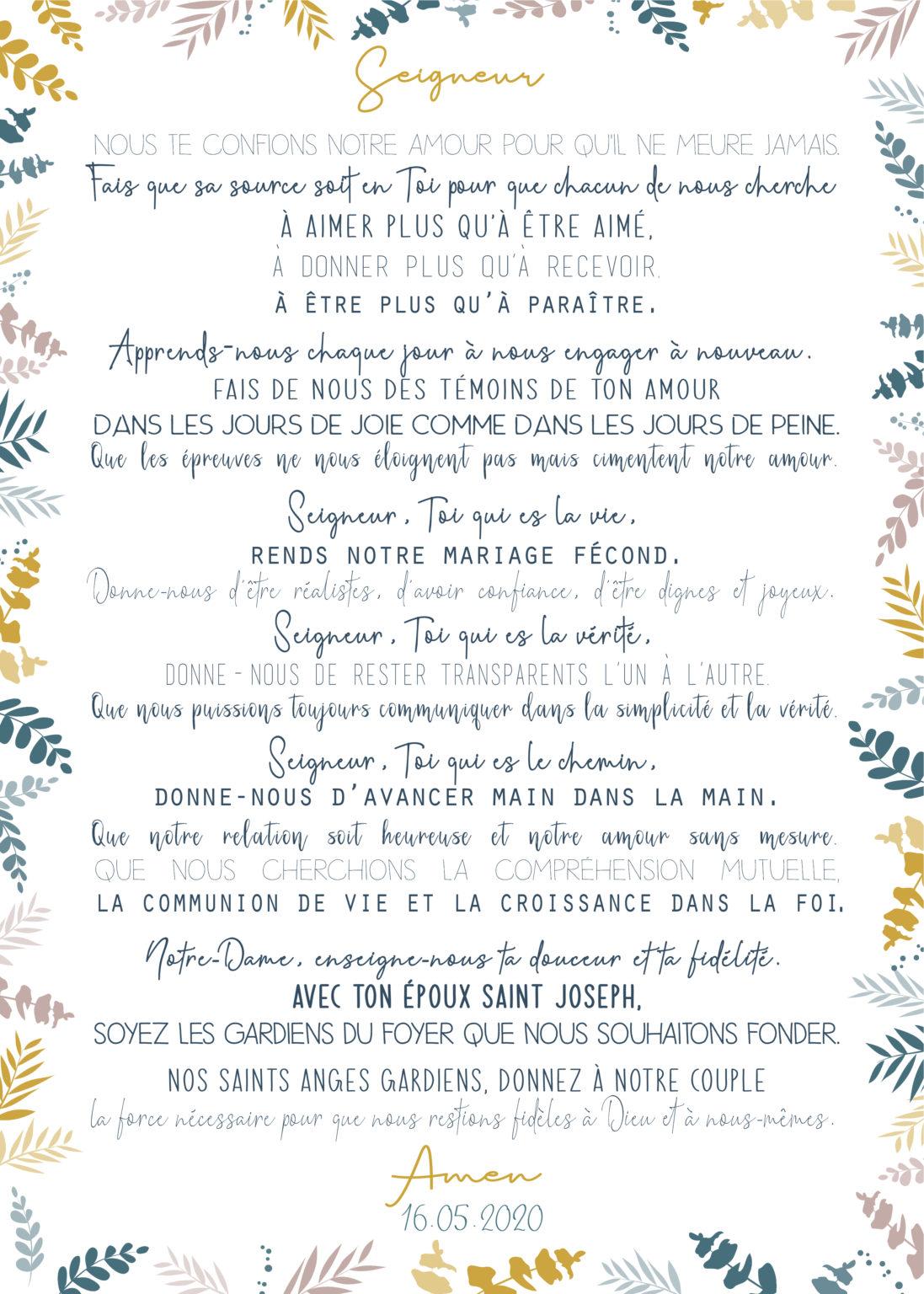 Prière des Epoux  - Mise en page personnalisée - Dimensions 50x70 cm