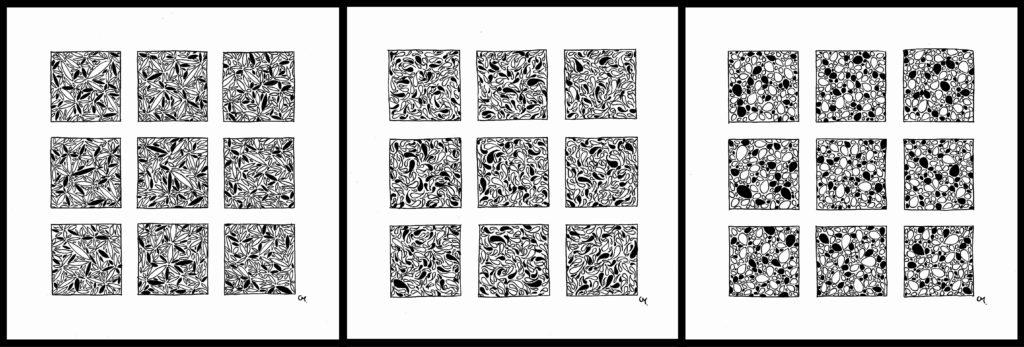 Triptyque motifs noir et blanc