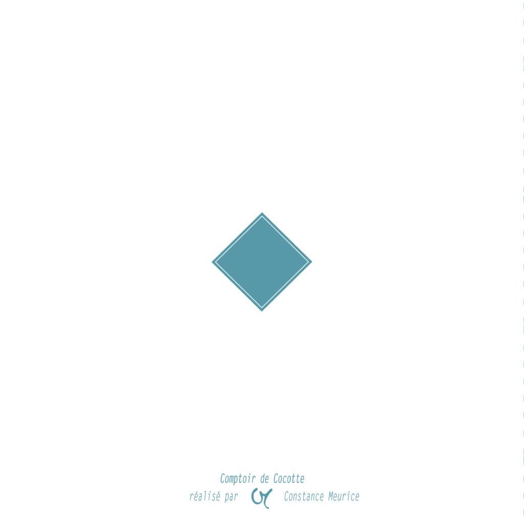 Faire-part de naissance - Modèle losange bleu - verso