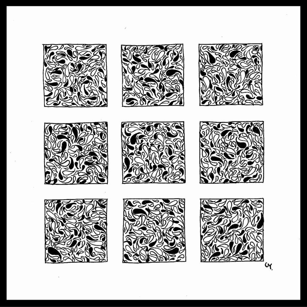 Triptyque motifs noir et blanc 1